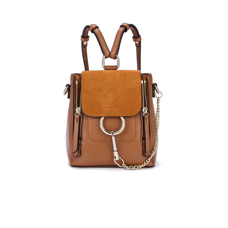 New genuine leather luxury small backpacks designer scrub fashion ladies backpacks ring chain mini women backpacks