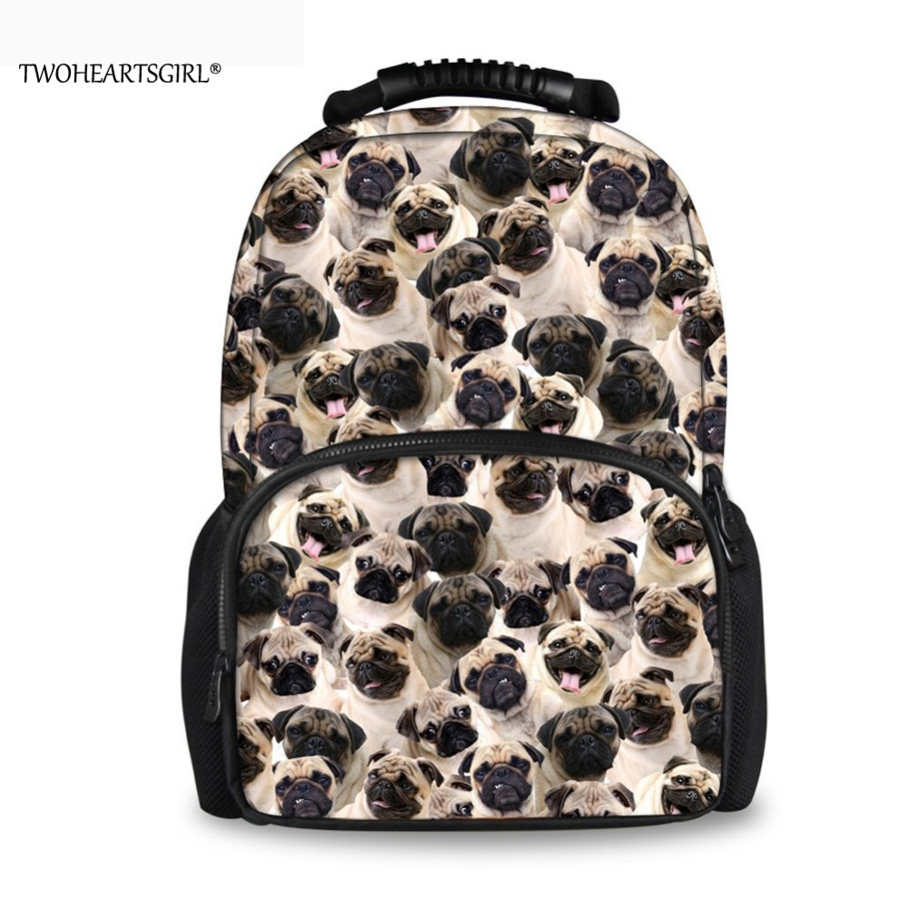 TWOHEARTSGIRL Black Pug Dog Cute Printing Backpack Women Travel Bagpack 17 inch Laptop Back Strong Handle Husky Student Pack