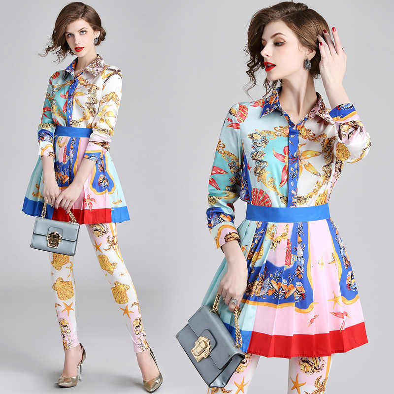 fc8dfbca1139 New 2018 Fall Runway 3 Piece Women Sets Retro Vintage Baroque Print Top  Shirt Blouse +