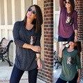 2017 Осень Женщины Блузки Плюс Размер Мода Блестки Карман Блузки Женщины С Длинным Рукавом Туника Футболка Топы Blusas Camisas Mujer