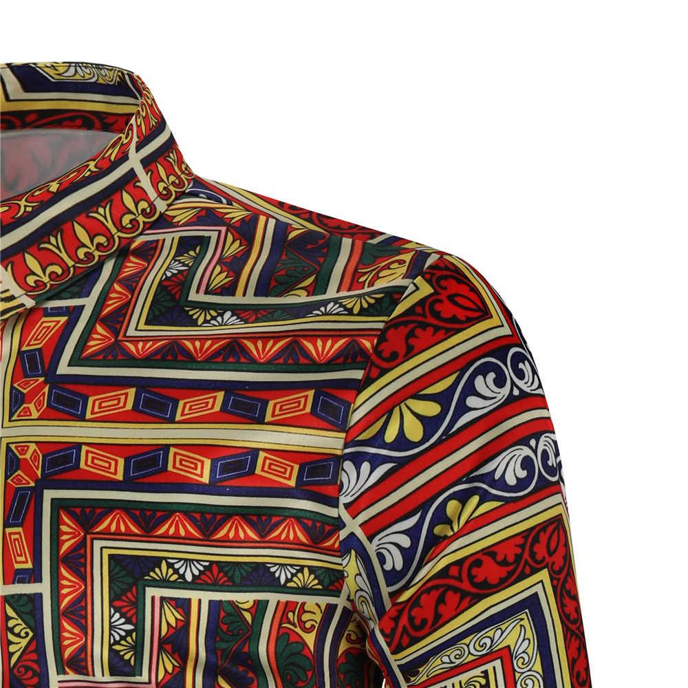 Мужская пляжная гавайская рубашка тропическая с длинным рукавом рубашка мужская Повседневная Свободная Цветочная рубашка одежда