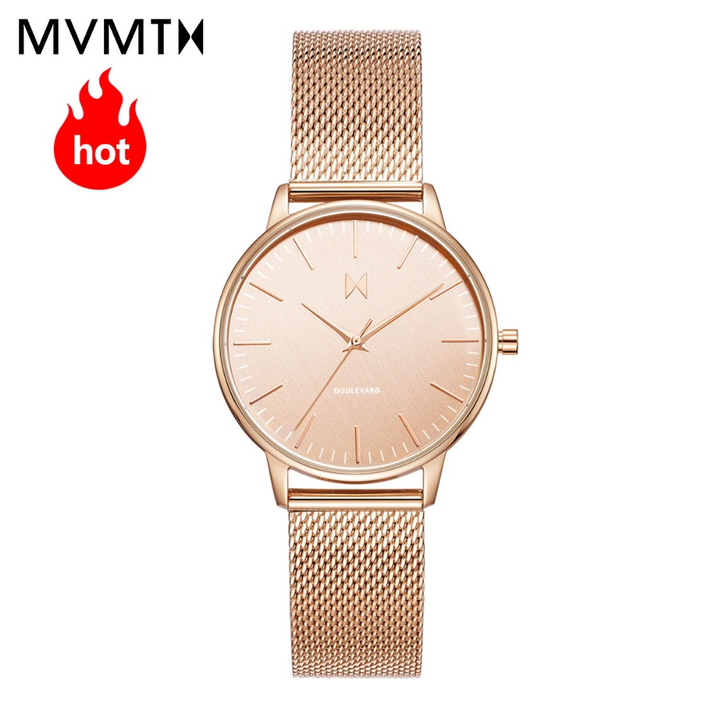 MVMT watch | women's female watch Rose-golden trend students beige waterproof quartz Metal braided steel strap watch 38mmdw 02 beige rose