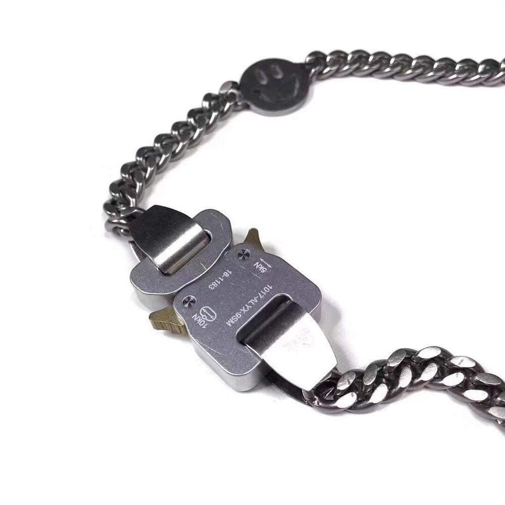 19ss ALYX Metal Chain necklace Bracelet Men Women Hip Hop Outdoor ALYX Street Accessories Smile Necklace 1