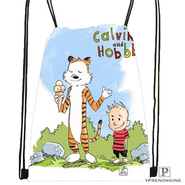 Custom calvin and hobbes 12 01 Drawstring Backpack Bag Cute Daypack Kids Satchel Black Back 31x40cm