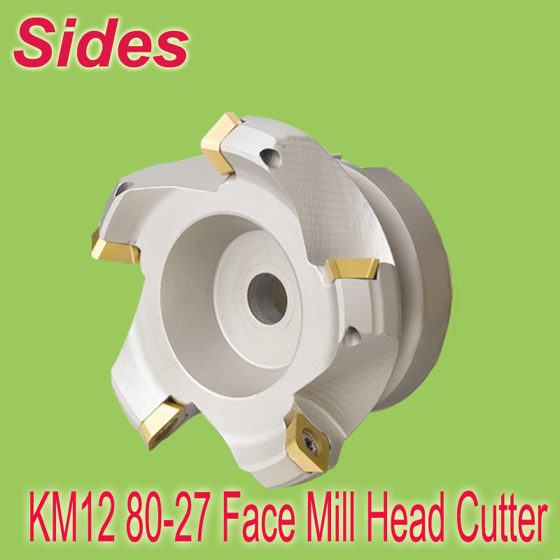 Free Shiping KM12 80-27-5T 45 Degree Shoulder Shell Milling Cutter Head for SEHT1204