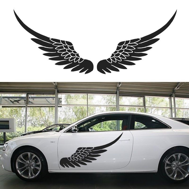 1 Pair Big Size Car Vinyl Decal Sticker Door Body Stickers Side Decals Angel Wing Birds Feather Black White Wallpaper Mural car styling uchiha sasuke naruto door stickers japanese anime vinyl sticker decals auto body racing decal acgn car film paint