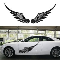 1 Pair Big Size Car Vinyl Decal Sticker Door Body Stickers Side Decals Angel Wing Birds Feather Black White Wallpaper Mural