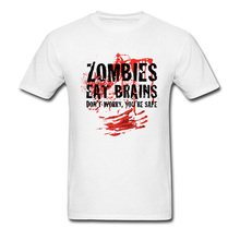 Cheaper T Shirts Mens Zombies Eat Brains Meat Tshirt 100% Cotton Good Quality Brand Clothing Red Bloody Letter T-Shirt New