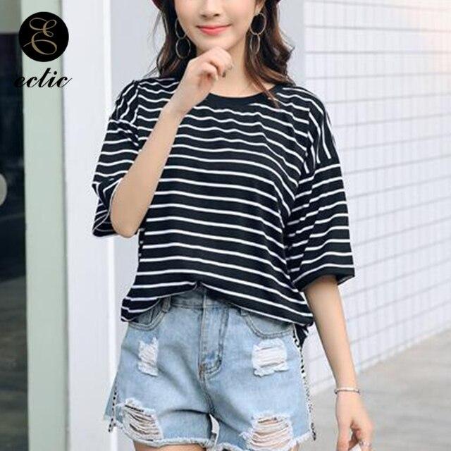 aesthetic korean clothes striped vogue ulzzang clothing casual vetement femme bluz dames pastel kawaii short tees baseball tshirt sleeve mouse