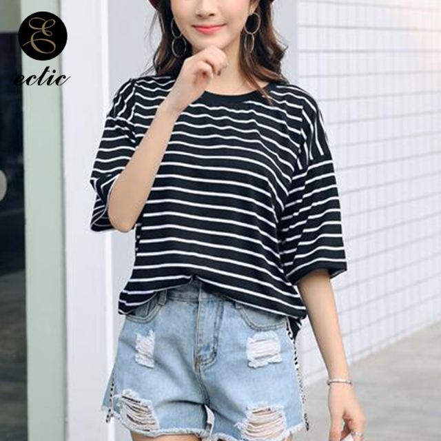 e62b604ac Vogue Tees Vetement Femme 2019 Clothes Korean Fashion Casual Black And White  Striped Baseball Shirt Women Cute Short Sleeve Bts