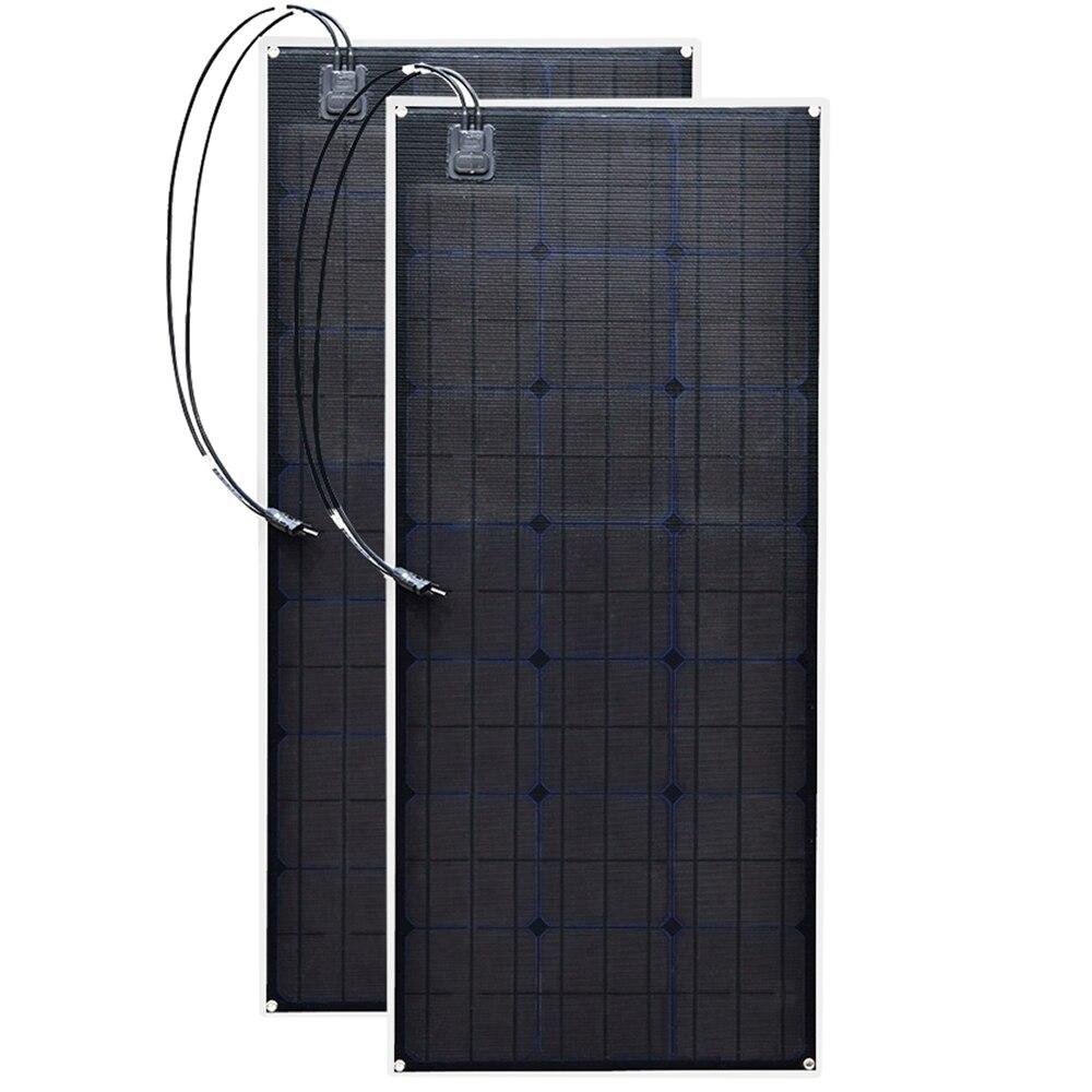 2 ETFE flexible panneau solaire 20.5 v 100 w Noir Classe-Un solaire cellule solaire monocristalline 200 w 12 v/24 v dc étanche panneaux 100 watts