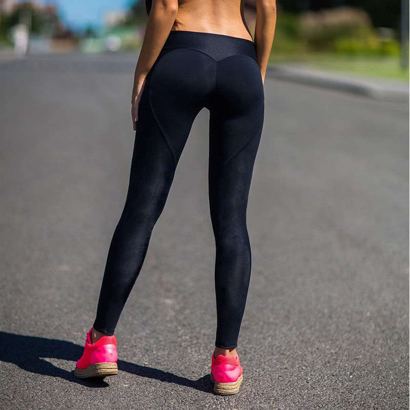 EOEODOIT Fashion Heart Shape Fitness Legging Women Workout Jeggin Hip Push Up Ankle-Length Pants Elasticity Sport Leggings