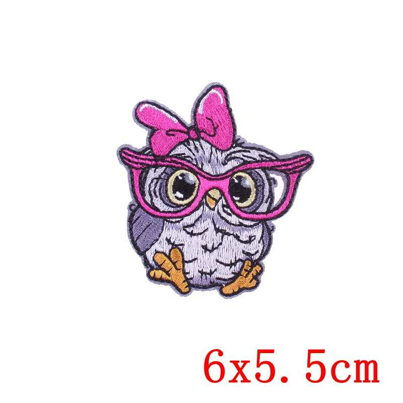 Prajna Anjing Crown Owl Patch Surf Besi Patch Burung Kuda Kawaii Anak-anak Bordir Patch Kartun Anime Kain Patch Hal-hal Asing