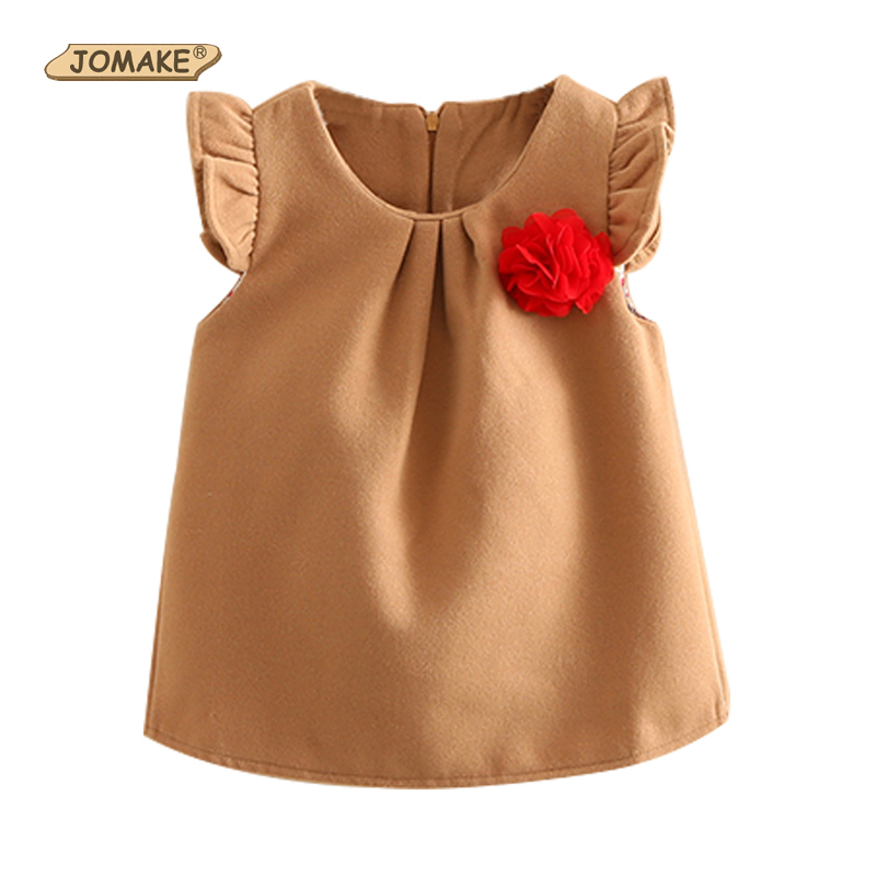 2017 Winter Wool Girls Dress Corsage New Year Christmas Dress for Children Blouse Style Baby Girl Autmn Dresses Free Shipping 2017 girls children hoodies winter wool