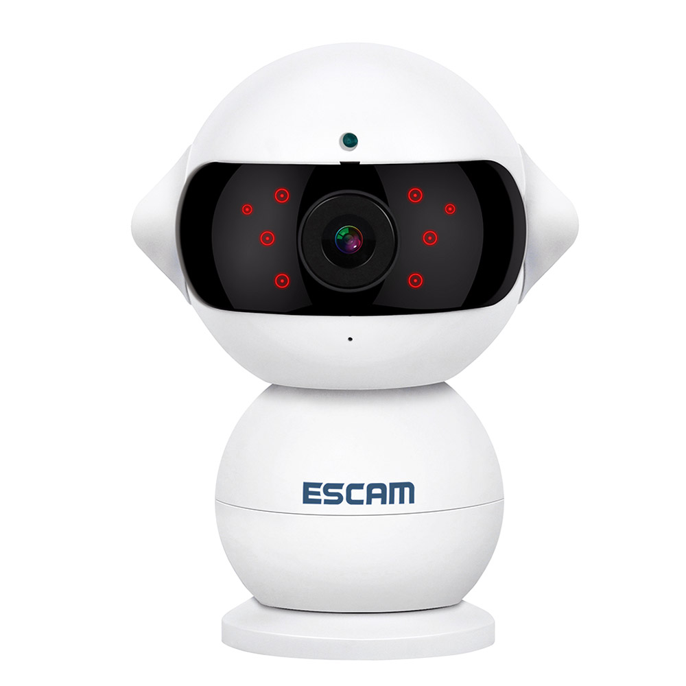 ESCAM Elf QF200 960P 1.3MP WiFi IR IP Camera Night Vision 360 Degree Rotation Alarm Robot Baby Monitors Two Way Audio - White цена