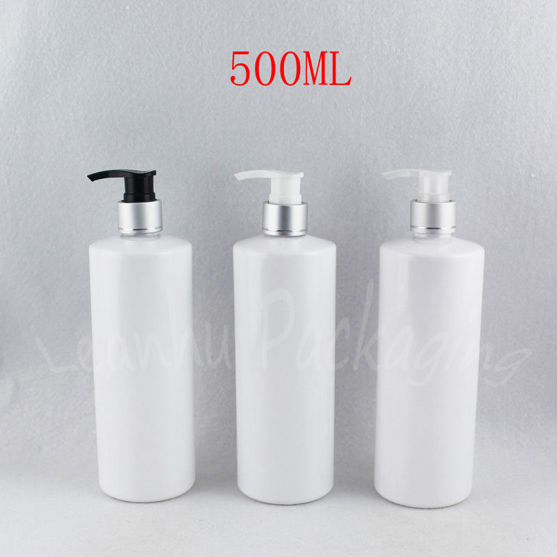 500ML White Flat Shoulder Plastic Bottle , 500CC Empty Cosmetic Container , Shampoo / Lotion Packaging Bottle ( 15 PC/Lot )
