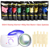 Free Shipping Wax Heater Machine Wax Beans Set 500ml Waxing Warmer + 400g Lavender Hard Wax Beans + 10pcs Spatulas