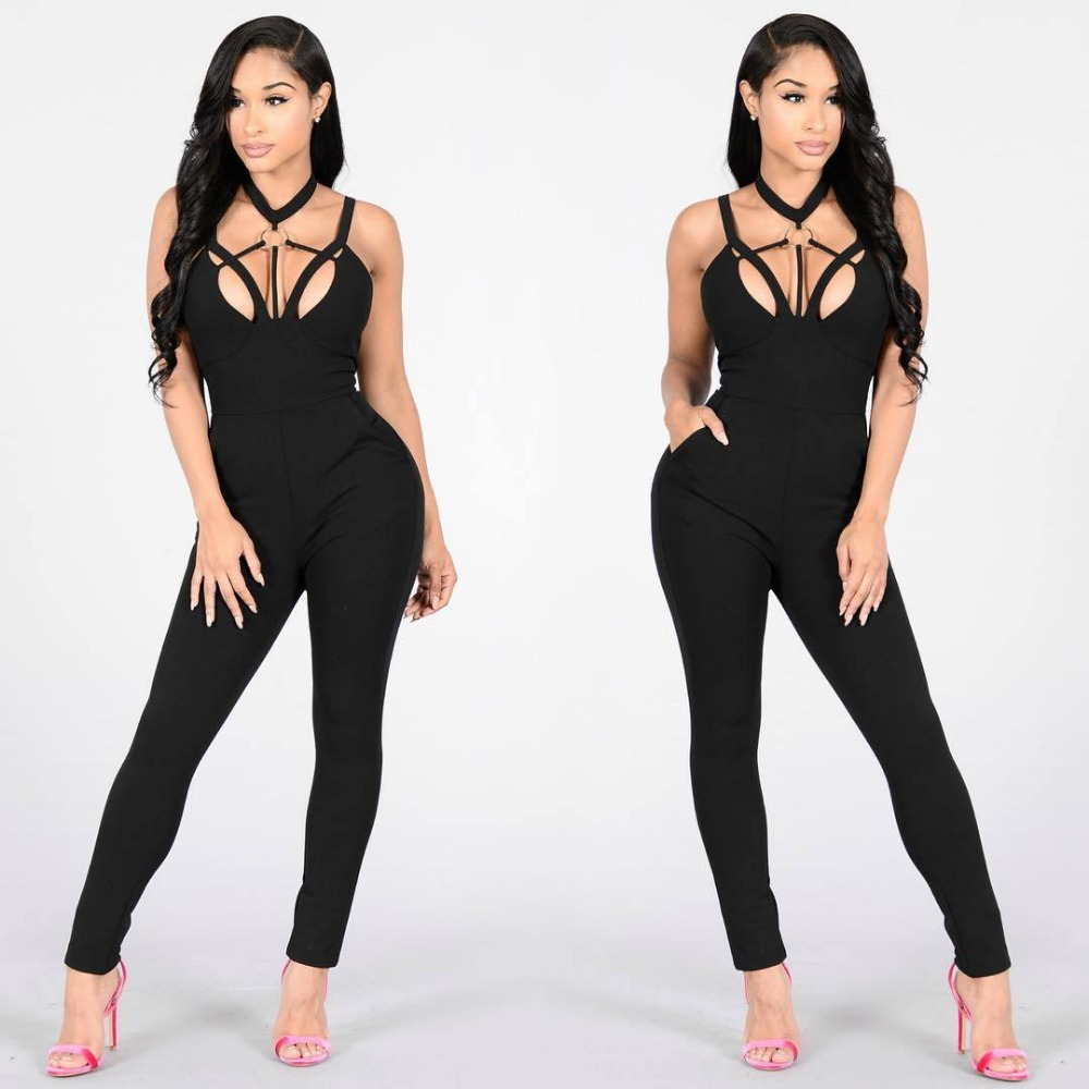 Women Jumpsuits Sexy Fashion Europe and America Style Bandage Elastic Jumpsuit black sleeveless Hollow out Skinny Jumpsuit