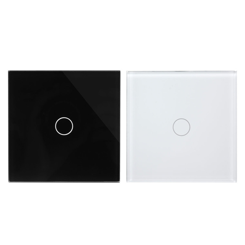 Tempered Glass 1 Gang ON/OFF 2 Way Touch Remote Control Light Switch Panel New eu us smart home remote touch switch 1 gang 1 way itead sonoff crystal glass panel touch switch touch switch wifi led backlight
