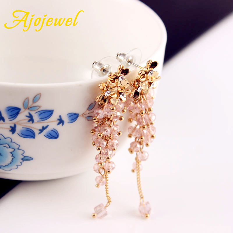 Ajojewel Trendy Smuk Crystal Beaded Tassel Drop Øreringe Flower Long - Mode smykker - Foto 6