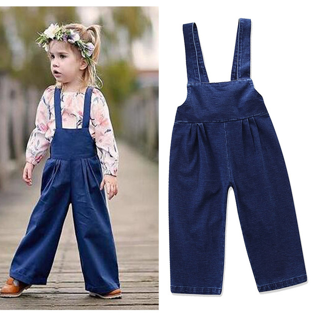 5613fbd4a2e 2018 New autumn children s gallus trousers girls pants top quality baby kids  jeans spring girls denim bow overalls 17N1120