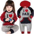 Eu Amo O Pai Mam Bebê Crianças Meninas Meninos Engrosse Macacão Outfits Inverno Quente Moletom Com Capuz One Pieces Traje