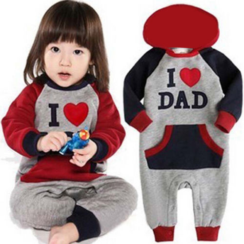 I Love Mam Dad Baby Kids Girls Boys Thicken Jumpsuit Outfits Winter Warm Hoodie One Pieces Costume