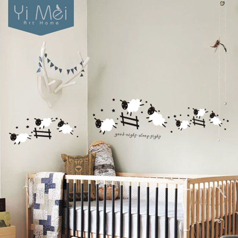 Cartoon Cute Jumping Sheep Fence Wallpaper Removable Wall Stickers Art Decal for Baby Kids Girl Living Bedroom Room Home Decor