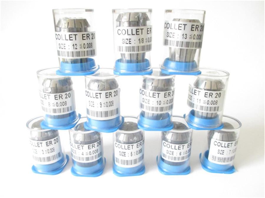 Купить с кэшбэком High Precision 0.008 12pcs ER20  collets ER 20 Spring Collet Suitable for ER Collet Chuck Holder