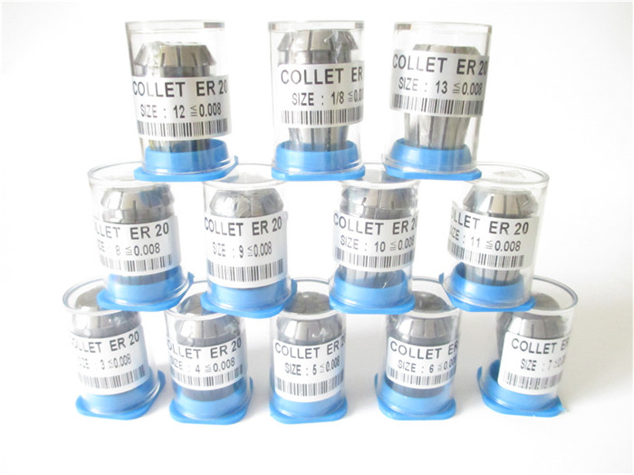 High Precision 0.008 12pcs ER20  collets ER 20 Spring Collet Suitable for ER Collet Chuck Holder