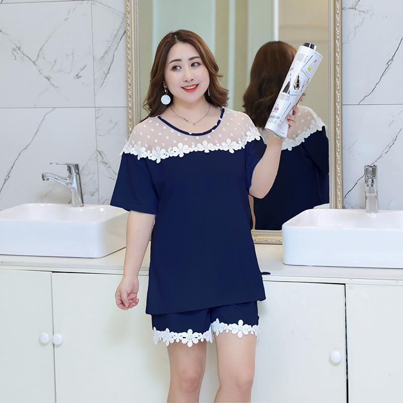 Sexy Short   Pajamas     Set   New Large Size Applique Shirt&Shorts Loose Sleepwear Female 2PCS Nightwear Home Clothes Oversize XXXL