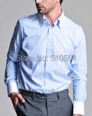 0b9c9a284e Custom made men 100%Cotton shirt Business casual men slim shirt light blue  double collar shirt
