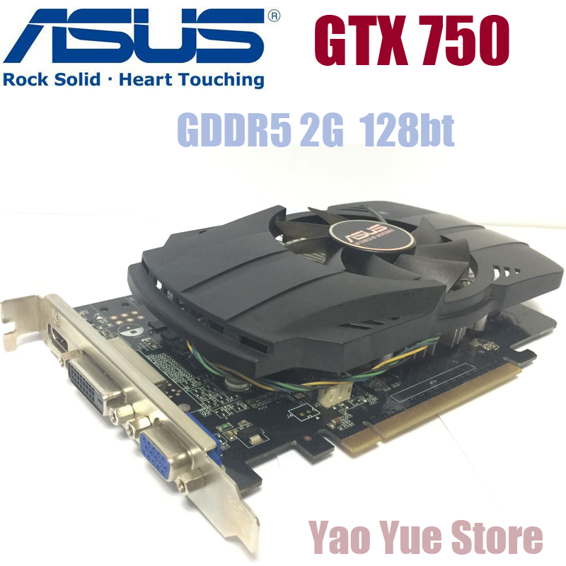 Asus GTX-750-FML-2GB GTX750 GTX 750 2G D5 DDR5 128 Bit PC Desktop Graphics Cards PCI Express 3.0 computer Graphics Cards yeston geforce gt 1030 gpu 2gb gddr5 64 bit gaming desktop computer pc video graphics cards support