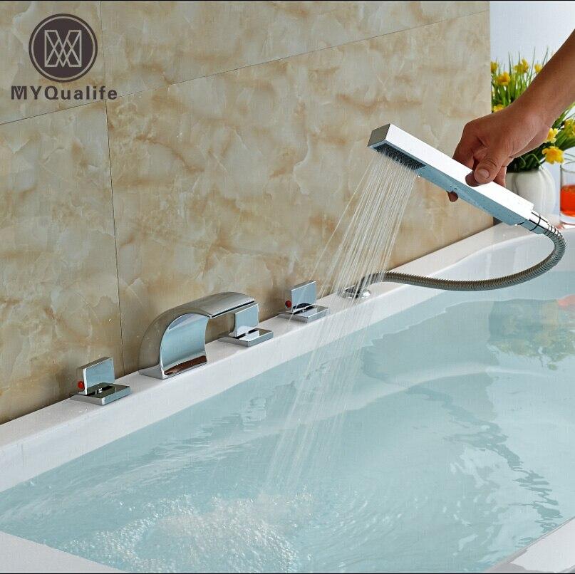 Deck Mount Pull Out Handshower Bathtub Faucet Set Roman Tub / Bathroom Sink Waterfall