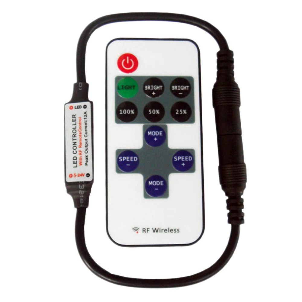 DC5V-DC 24 В 11 Ключи РФ Беспроводной светодиодный контроллер удаленного мини Диммер контроллер для одного Цвет полосы света освещение оптовая п...