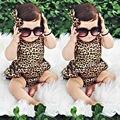 Leopardo Bodysuit Roupa Do Bebê Meninas de Bebê Fresco Original Estilo Bloomer Conjunto Terno Do Corpo Bebe macacão Verão