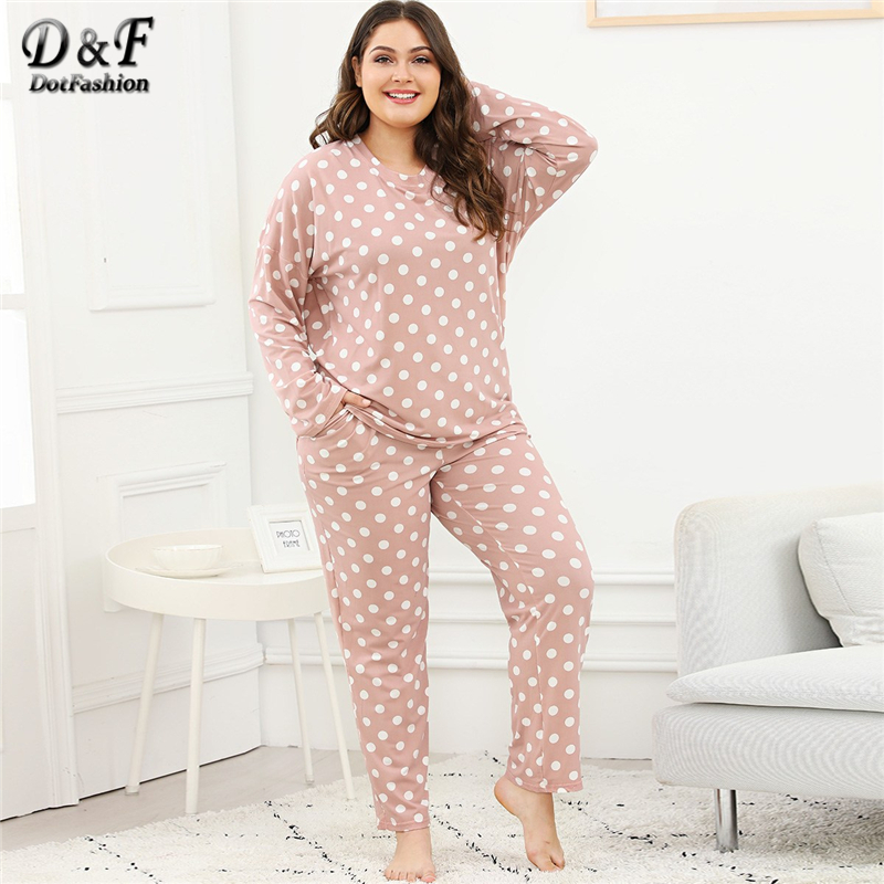 Dotfashion Plus Size Pink Polka Dot   Pajama     Sets   Autumn Casual   Pajamas   For Women Sleepwear Female Pocket Long Sleeve Nightwear