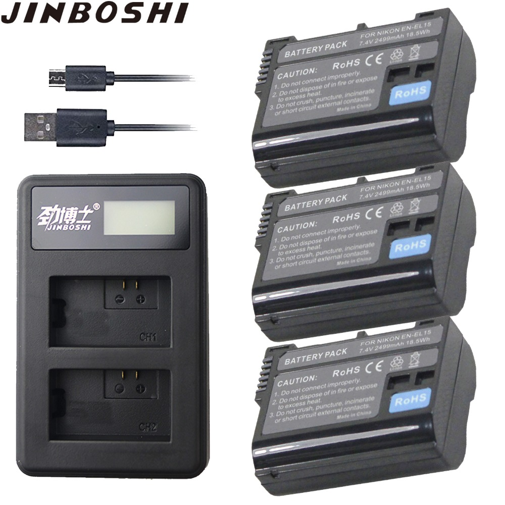 3 X En-el15 En El15 Digital Batterie Für Nikon D7200 Slr Kamera Batterie D7000 D7100 D7500 D610 D750 D810 D850 Z6 Z7 D500 Tracking Digital Batterien