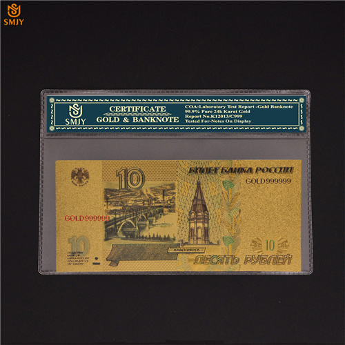 24K Gold Plated Banknote QUEEN Russian 100 Rubles Paper Money Worth Collection