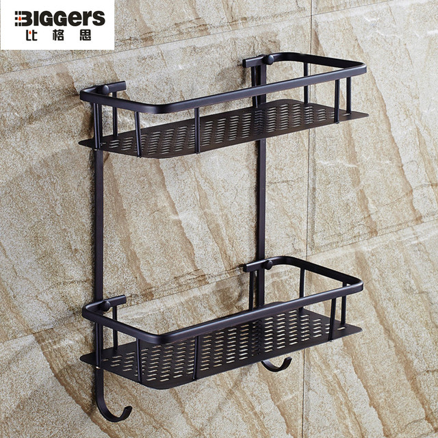 Free Shipping Copper Bathroom Accessories Black Bronze Double Tier Wall Shelf With Hook Soap