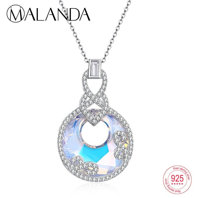 MALANDA 925 Sterling Silver Round Crystal From Swarovski Zircon Pendants Necklaces For Women Elegant Statement Necklaces Jewelry