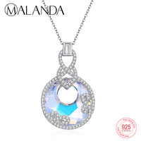 MALANDA 925 Sterling Silver Round Crystal From Swarovski Zircon Pendants Necklaces For Women Elegant Statement Necklaces Jewelry