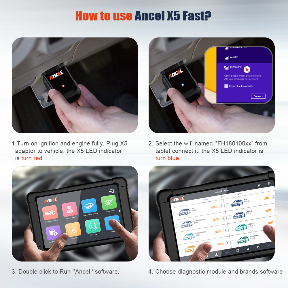 Image 5 - OBD OBD2 EOBD Automotive Scanner Ancel X5 WIFI  Win Tablet Auto Car Diagnostic Tool Airbag ABS DPF Reset Full System Diagnosis-in Code Readers & Scan Tools from Automobiles & Motorcycles on