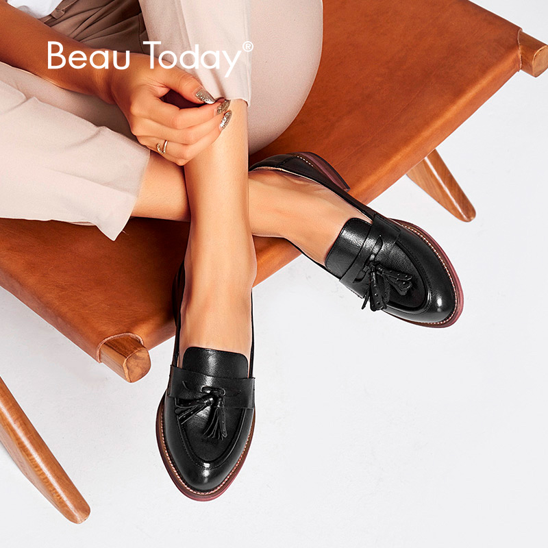 BeauToday Penny Loafers Women Tassels Genuine Leather Sheepskin Moccasin Pointed Toe Lady Flats Slip On Shoes