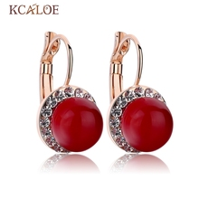 Red Coral Earrings Round Ball Natural Stone Wedding Bride Jewelry Crystal Cubic Zirconia Pendientes De Coral Rojo Earrings
