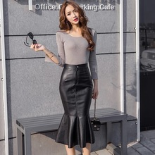 Autumn new fashion Sexy mermaid skirt in the long section package hip skirts high waist PU skirts free shipping