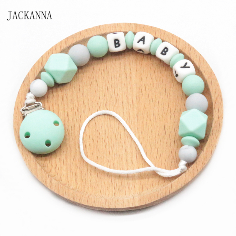 Infant Pacifier Holder Chain Newborn Baby Shower Gift Bpa Free Silicone Baby Pacifier Clips Orderly Personnalise Baby Name Dummy Clip