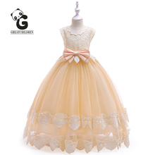 Flower Girl Dress Formal Princess Dress Girls Communion Party Kids Dresses for Girls Wedding Sleeveless Bow Kids Evening Dresses girls princess flower wedding party dresses bridesmaid kids bow long tail girl evening red dress children fashion lace costume