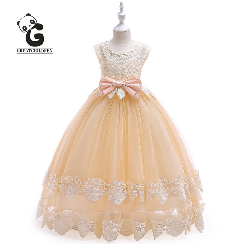 Flower Girl Dress Formal Princess Dress Girls Communion Party Kids Dresses for Girls Wedding Sleeveless Bow Kids Evening Dresses
