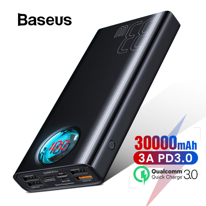 Baseus 30000mAh Power Bank with Quick Charge 3.0+PD3.0 Fast Phone Charger Powerbank External Battery Pack For iPhone Samsung